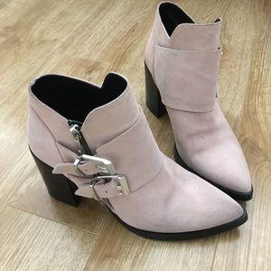 ZARA Suede Ankle Boots in Pink